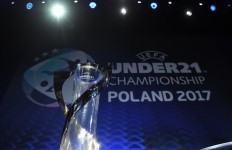 The UEFA Under-21 Championship trophy on the stage ahead of the UEFA European Under-21 Championship Final Tournament Draw