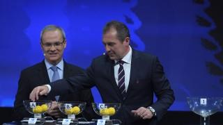 UEFA competitions director Giorgio Marchetti (L) with UEFA U21 Finals Ambassador Marek Kozminski during the UEFA European Under-21 Championship Final Tournament Draw