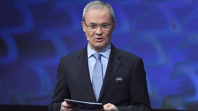 UEFA competitions director Giorgio Marchetti during the UEFA European Under-21 Championship Final Tournament Draw